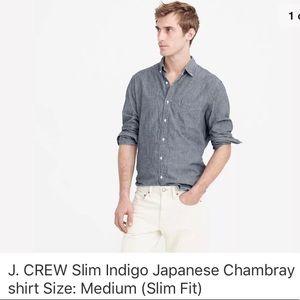 J. Crew Slim Fit Indigo Japanese Chambray shirt